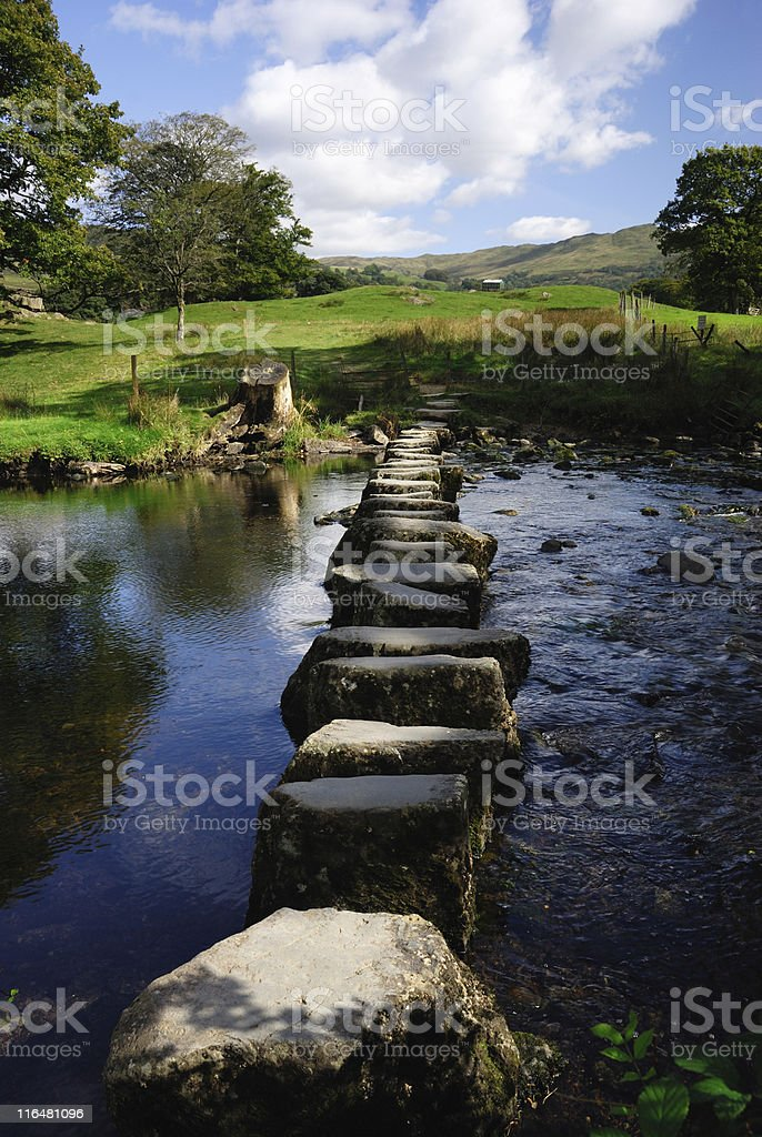 Line of stepping stones in the middle of a river stock photo