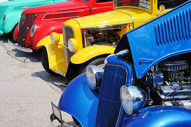 Line of Streetrod and Hotrod Cars at Car Show  car show stock pictures, royalty-free photos & images