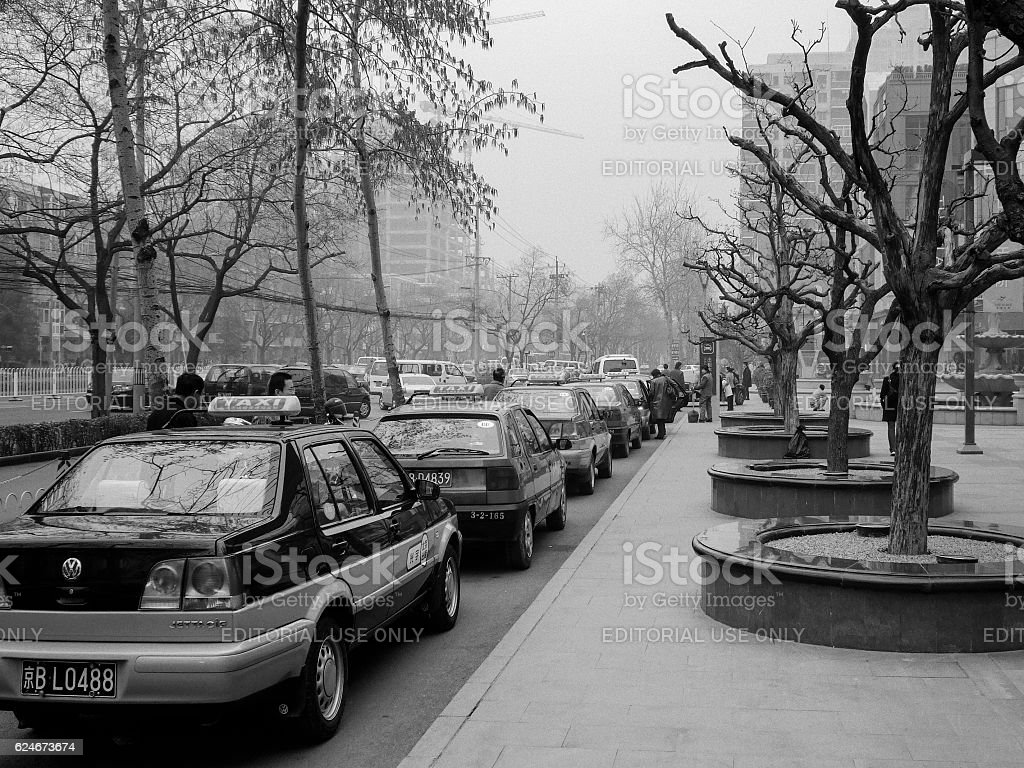 Line of taxicabs outside Beijing mall