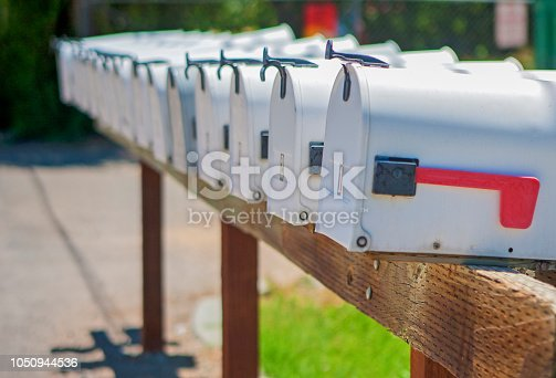 Line of the American Post Office Boxes Outside. Horizontal Image Composition.