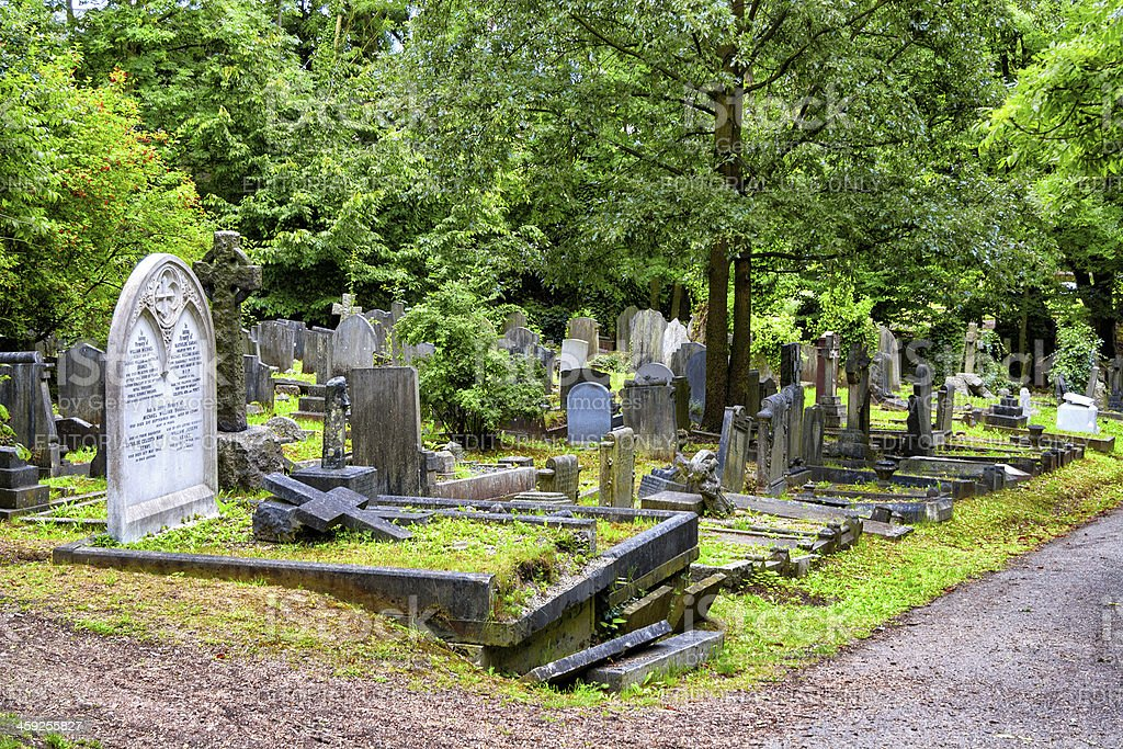 Line of Tombs in Highgate Cemetery, London stock photo