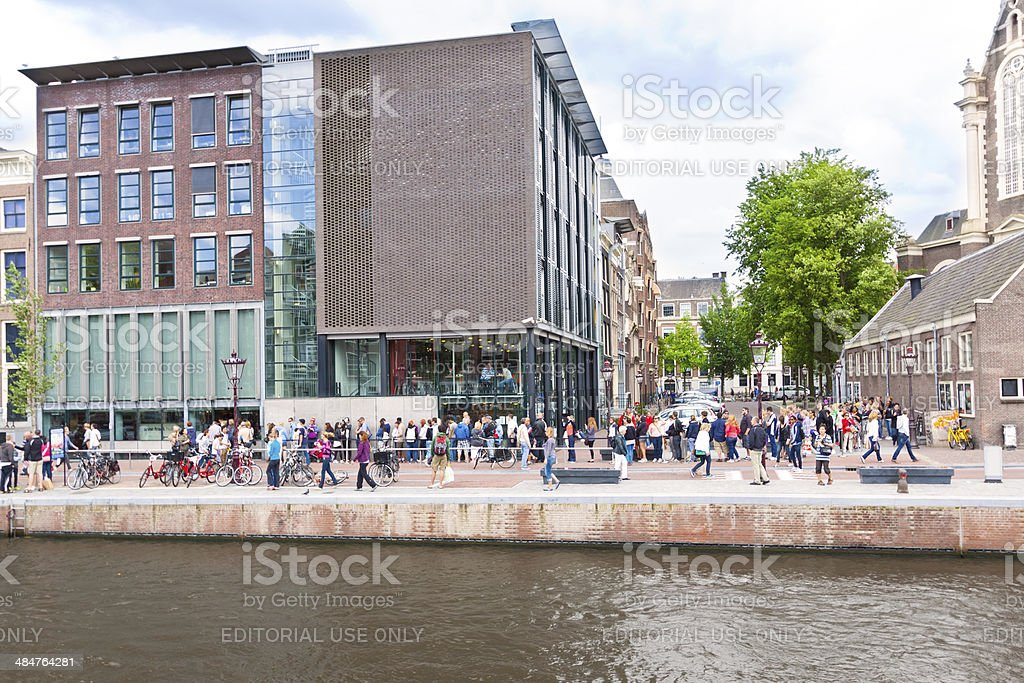 Line of tourists at Ann Frank Museum, Amsterdam. stock photo