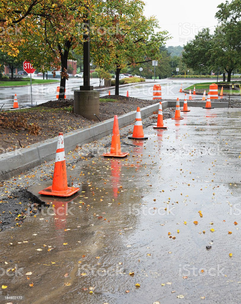 Line of Traffic Cones at Road Construction Site royalty-free stock photo