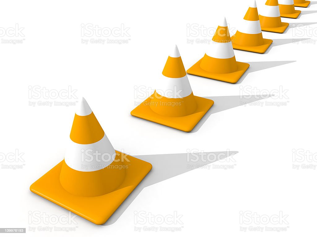 Line of Traffic Cones royalty-free stock photo