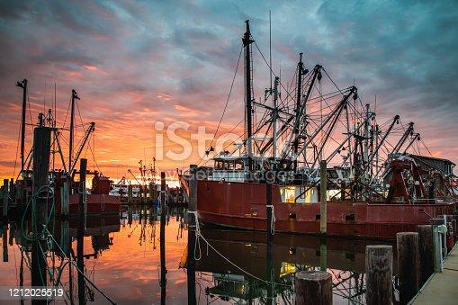 Fishing fleet under a glorious sunrise at Viking Village in Barnegat Light, NJ