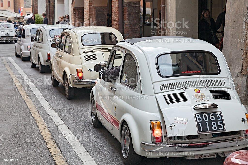 line of vintage Fiat 500 stock photo