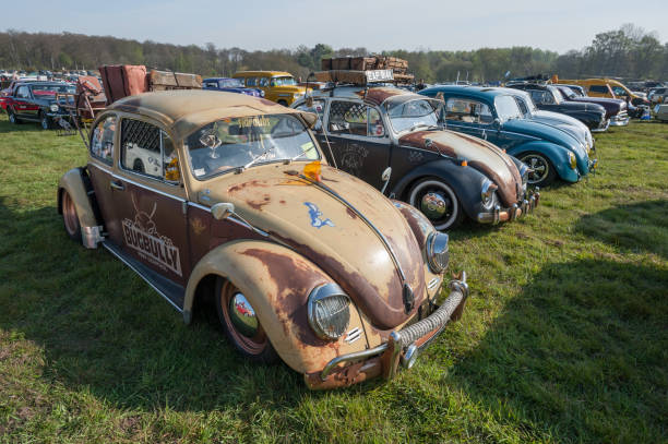 Line of vintage Volkswagen Beetle cars stock photo