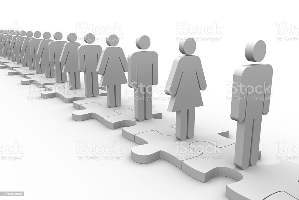 Line of white human forms standing over meshed jigsaw pieces royalty-free stock photo