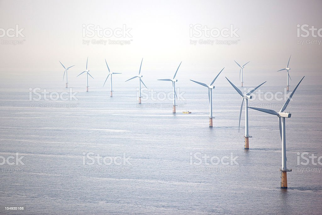 Line of wind turbines - Royalty-free Aerial View Stock Photo