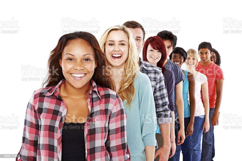 Line of young people standing ins queue stock photo