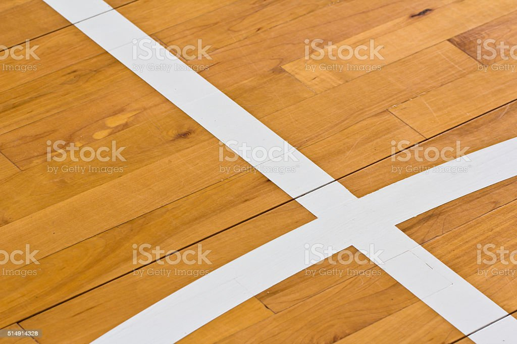 line on wooden floor basketball court stock photo