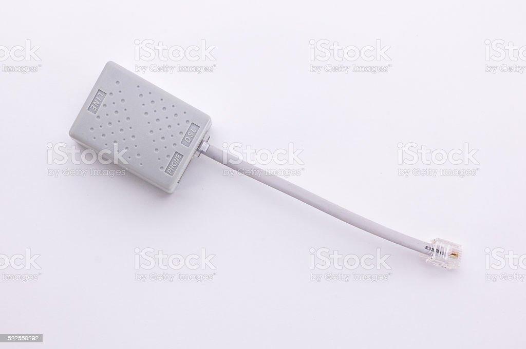Line Phone modem splitter stock photo