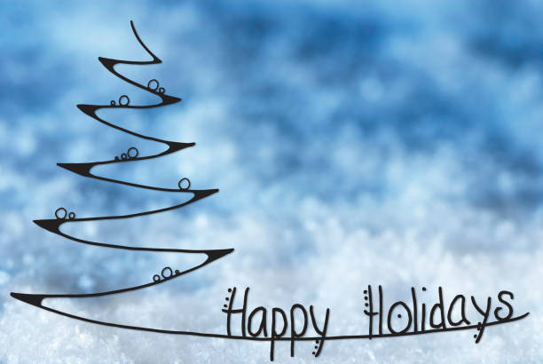 line sketch of christmas tree, happy holidays - happy holidays stock pictures, royalty-free photos & images