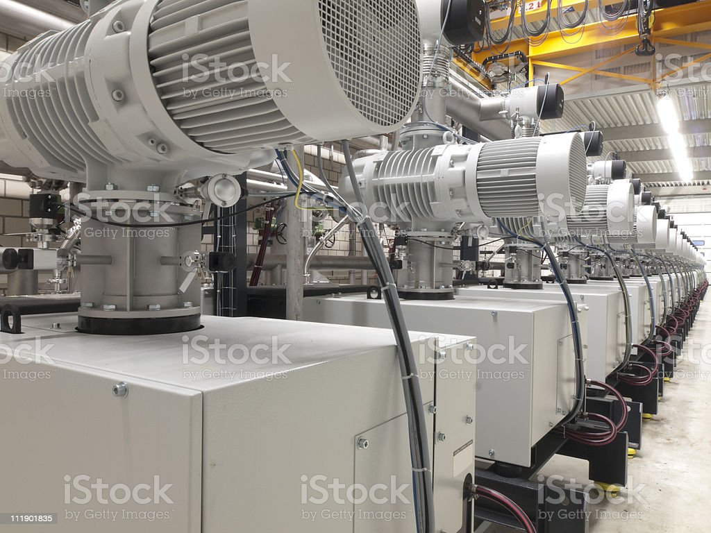 Line up of several electric motors stock photo