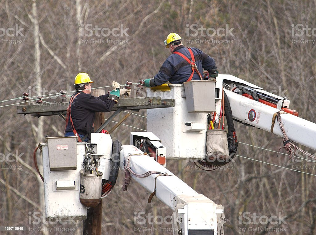 Line Workers stock photo