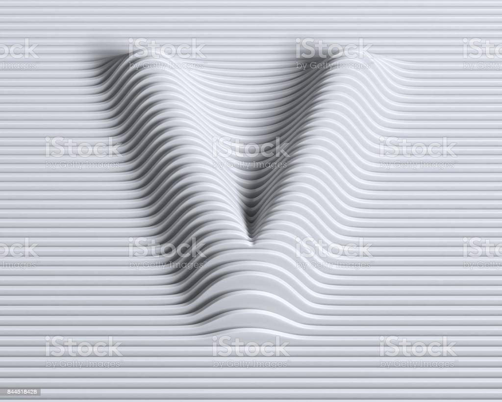Letra de fuente 3d lineal V - foto de stock