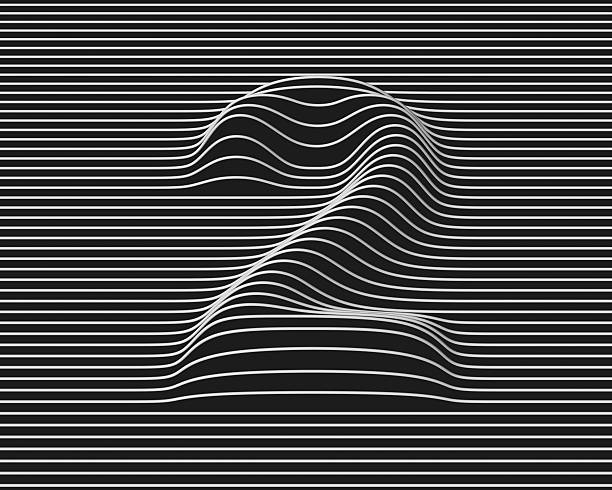 linear 3d font number 2 stock photo