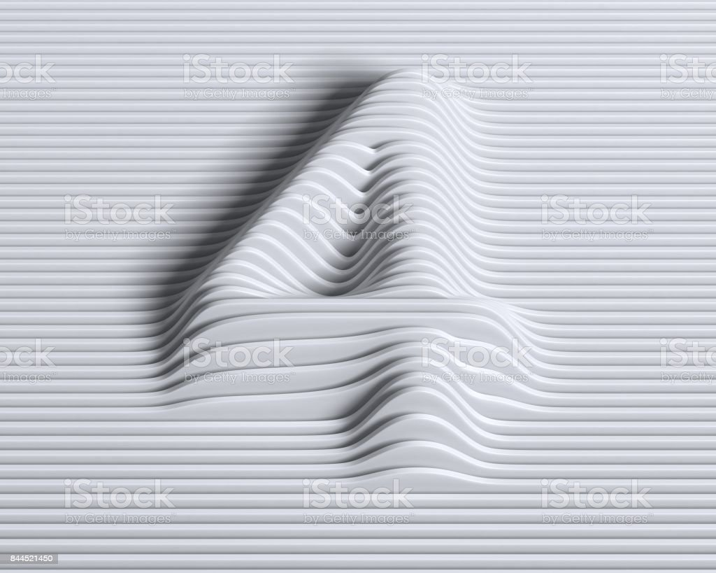 Linear 3d font number 4 stock photo