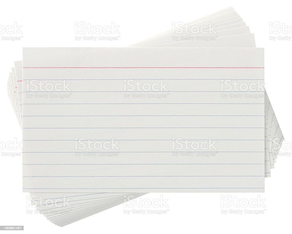 Lined Index cards on white with clipping path stock photo