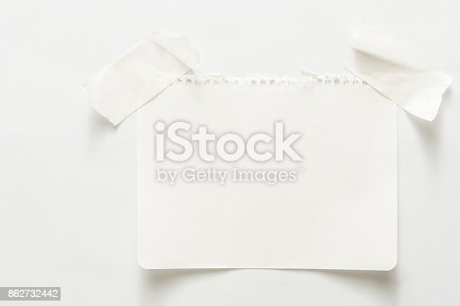 istock Lined note paper with sticky tape, notebook sheet 862732442