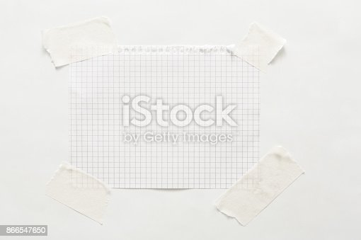 istock Lined note paper with sticky tape, notebook sheet 866547650