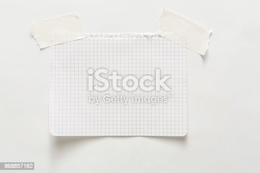 istock Lined note paper with sticky tape, notebook sheet 868857162