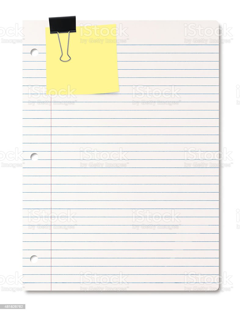 Lined paper, note and clip (with path) stock photo