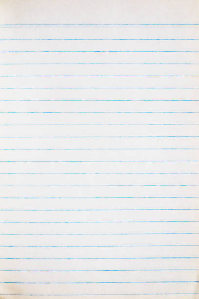 lined paper - sheet of old blue lined paper stock photo