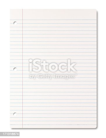 Lined paper sheet - clipping path included