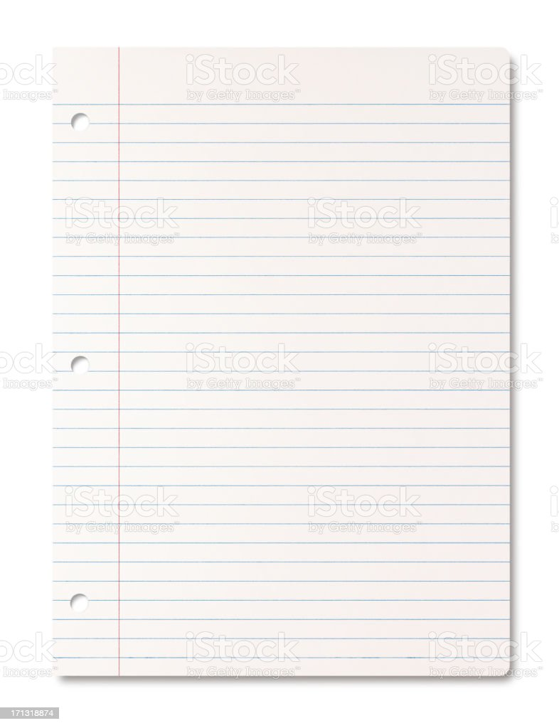 Lined Paper Sheet Stock Photo