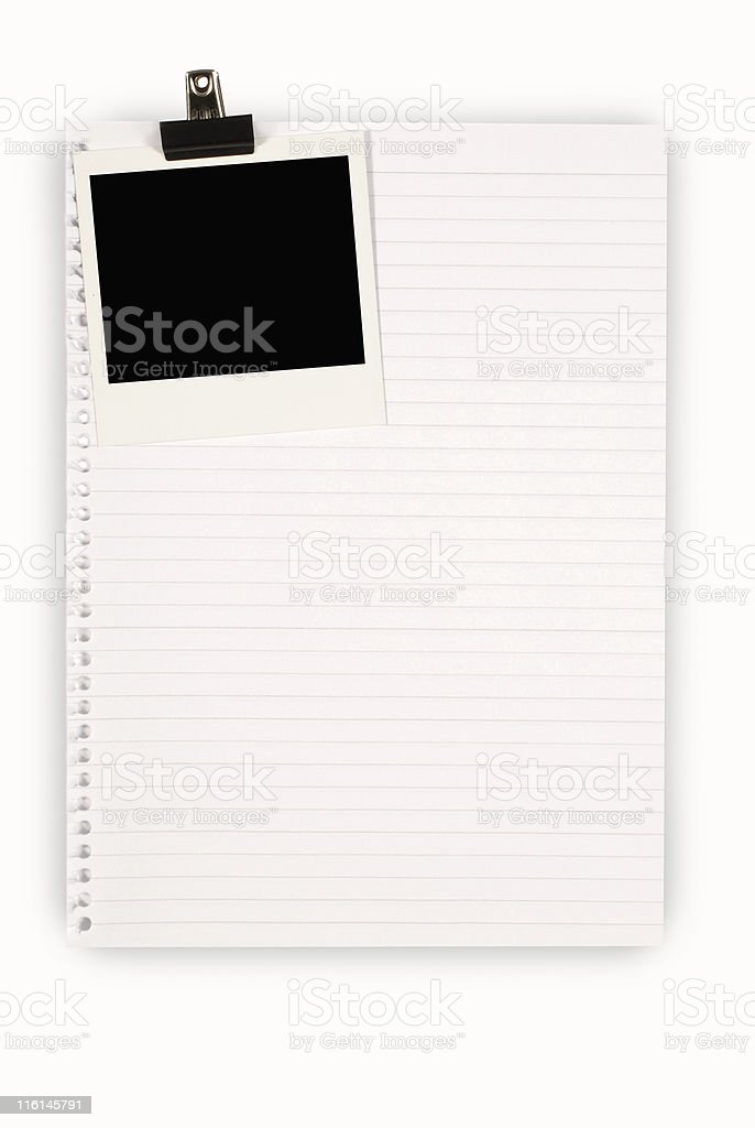 Lined paper with instant picture print royalty-free stock photo