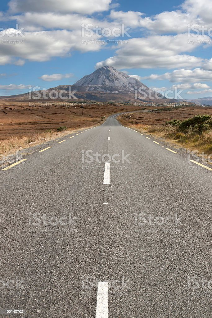 lined road to the Errigal mountains stock photo
