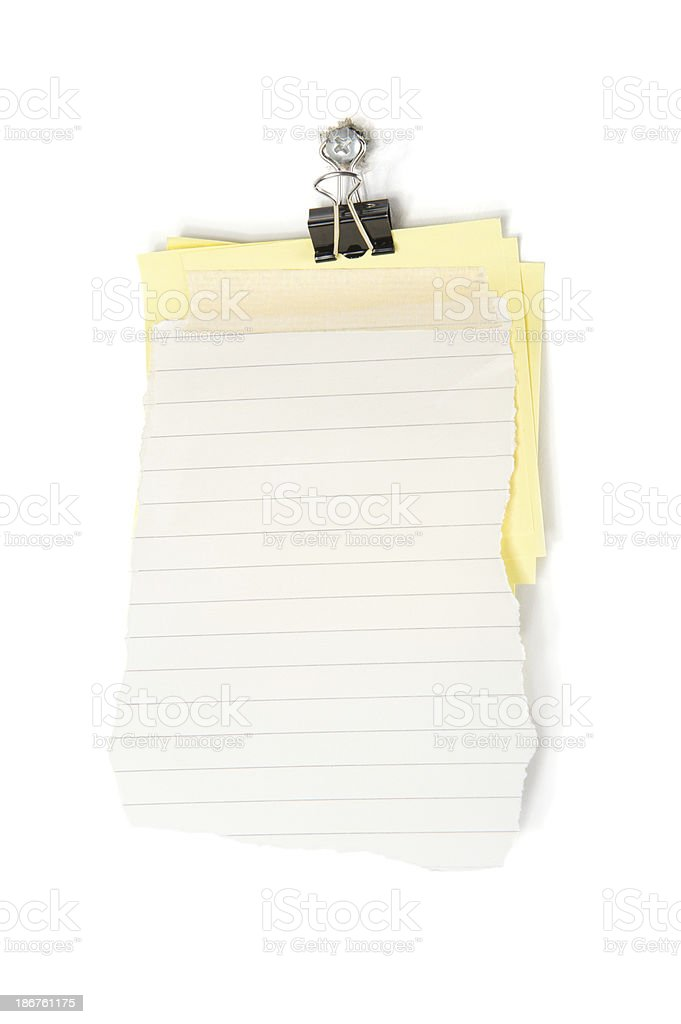 Lined Scrap Paper and Sticky Note stock photo