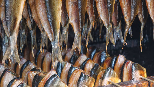 Lined up in the Smokehouse stock photo