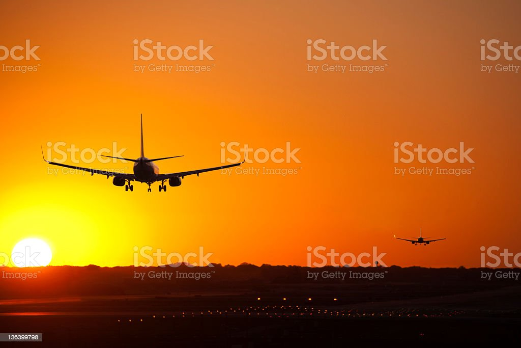 Lined up to Land royalty-free stock photo