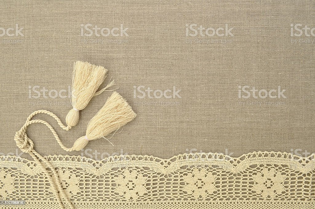 Linen background with lace and brush royalty-free stock photo