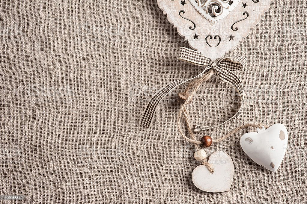 Linen background with xmas hearts stock photo