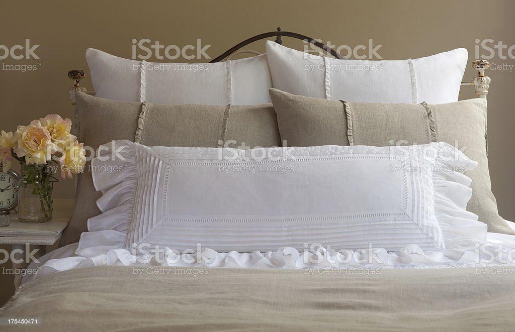 linen bedding stock photo
