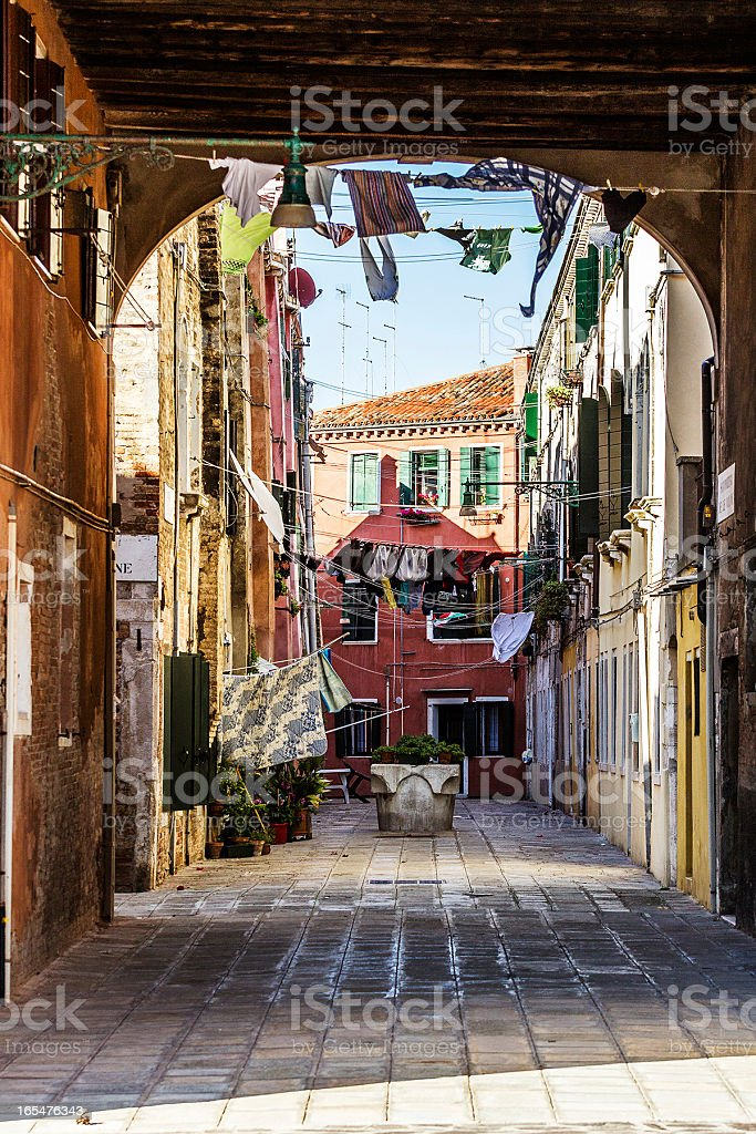 Linen Drying in the Wind. Venice, Italy royalty-free stock photo