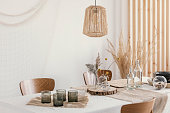Linen napkins on the table, rustic wedding decoration