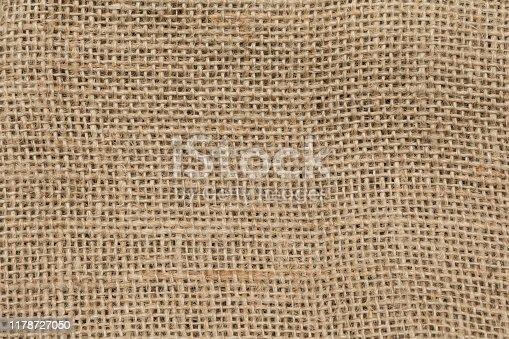 Linen sackcloth textured background, close up