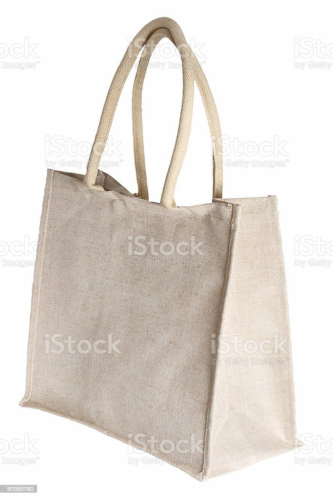 linen shopping bag isolated on white royalty-free stock photo