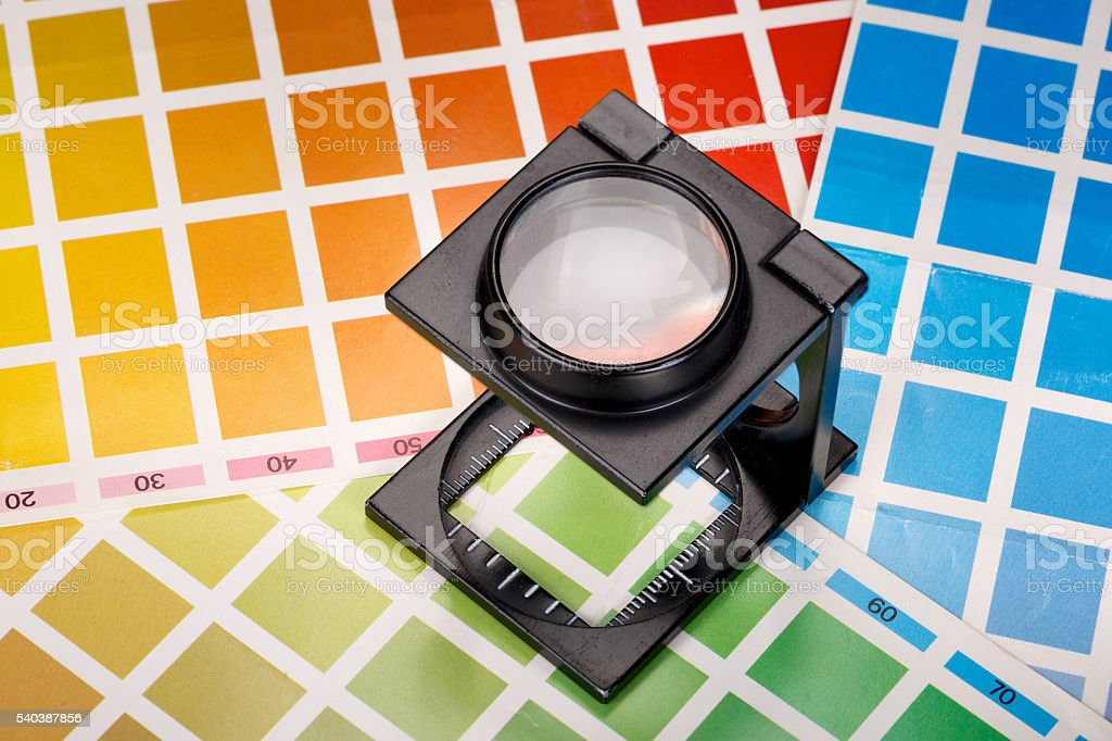 Linen tester and color scales stock photo