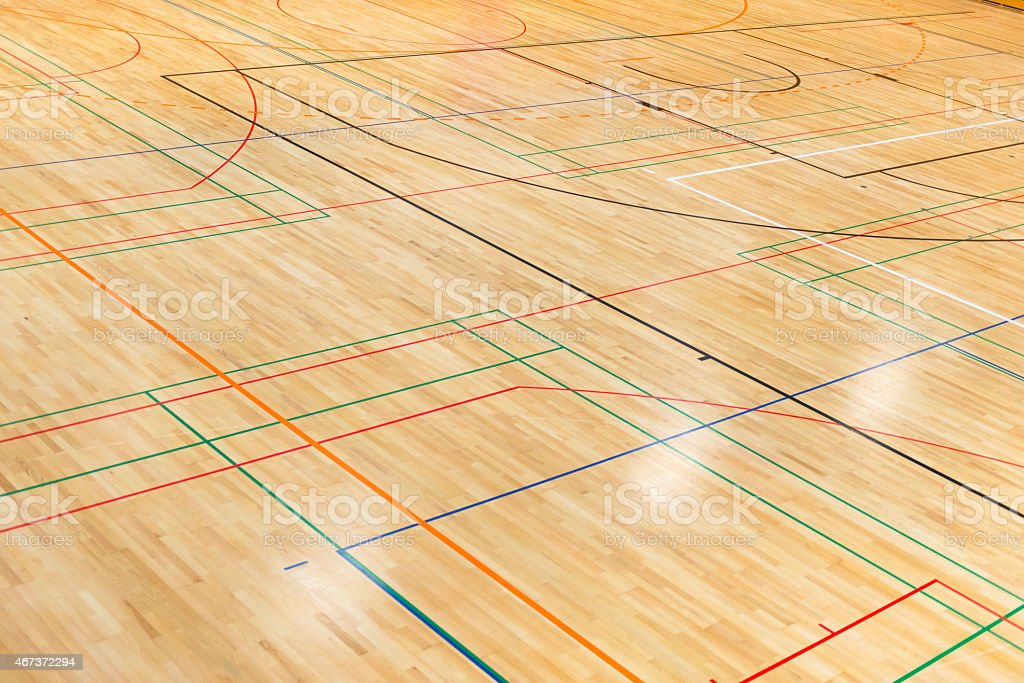 Lines and Curves on Parquet in Sports Hall, Gymnasium, Europe stock photo