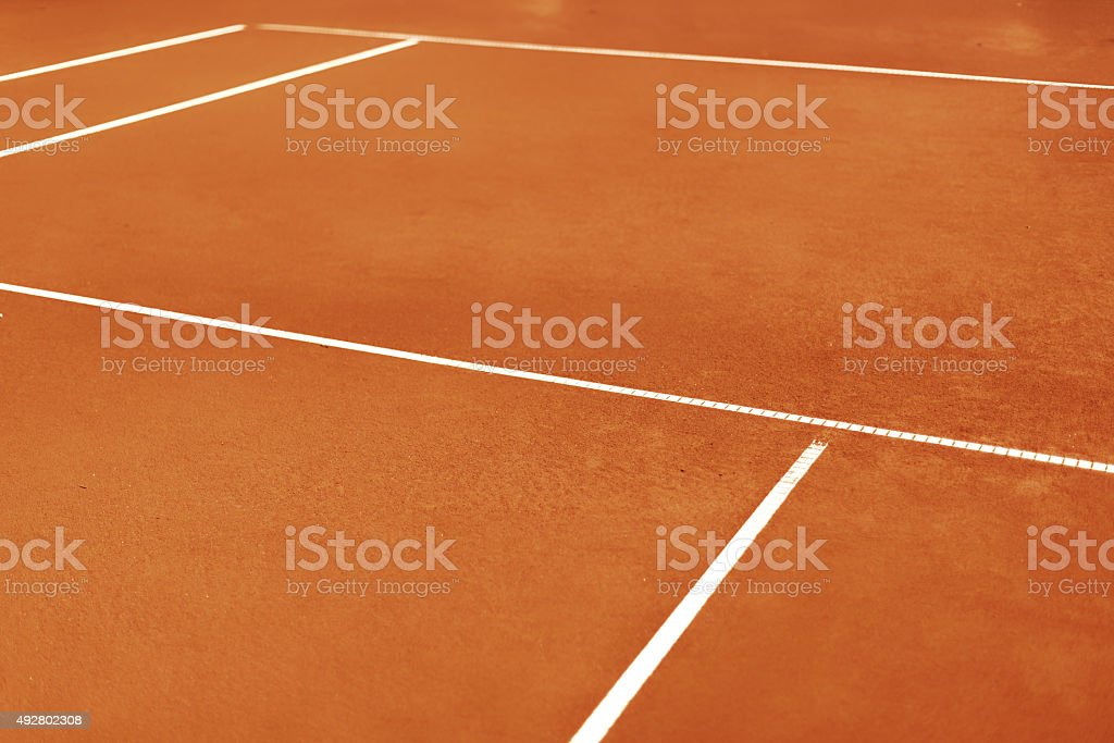 lines and sideline on tennis field clay court playground stock photo