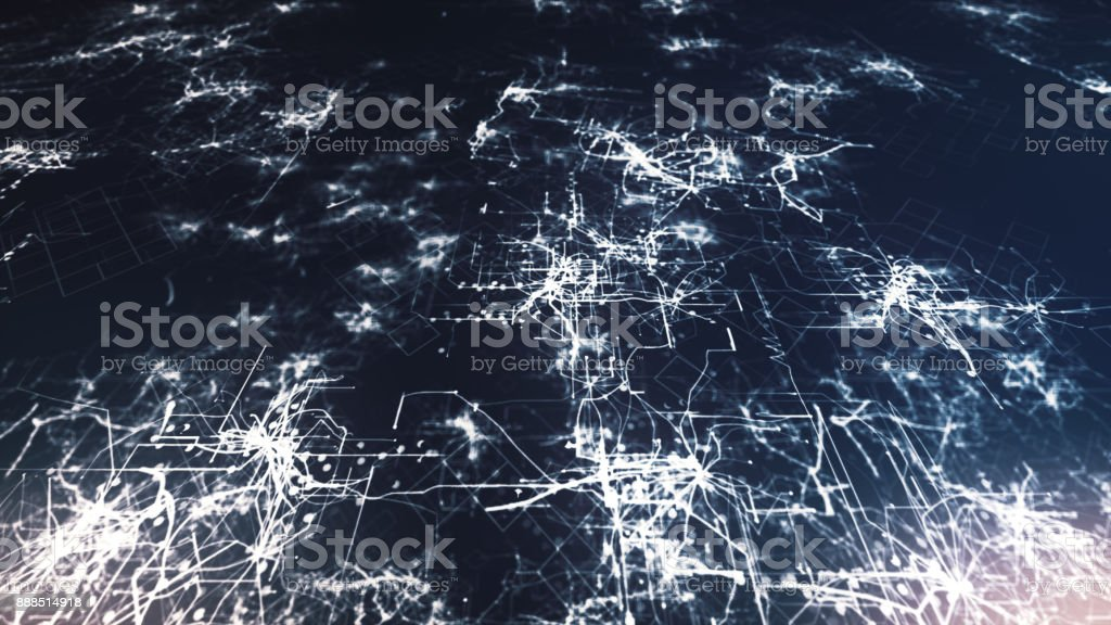 Lines drawn by bright spots eventually create an abstract image of a circuit board on a blue background. It may represent electronic connections, communication, futuristic technology. 3d illustration stock photo