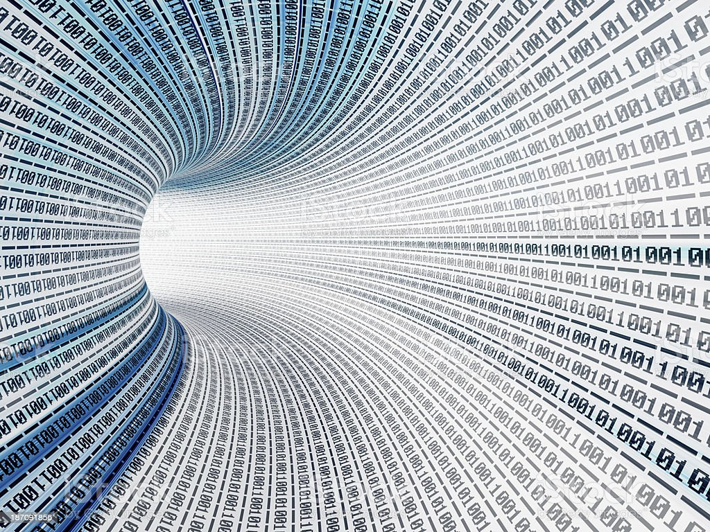 lines of binary codes traveling through the virtual tunnel royalty-free stock photo