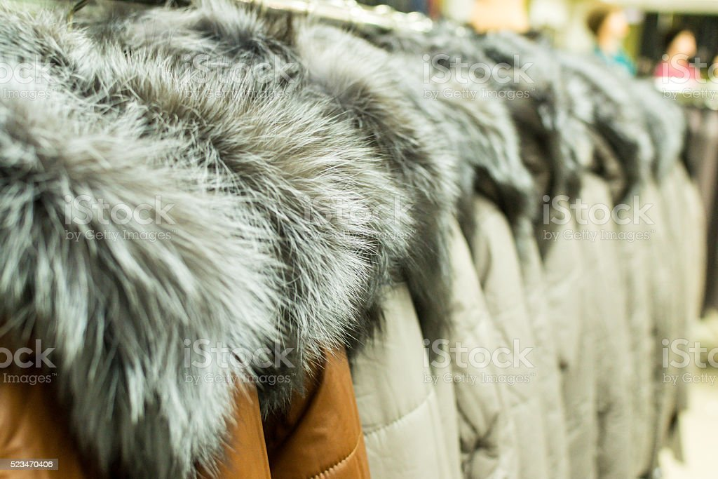 Lines of Fur Coats stock photo