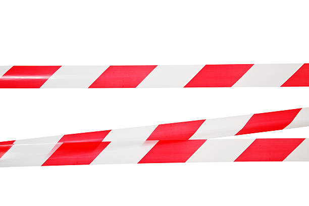 Lines of red white barrier type stock photo