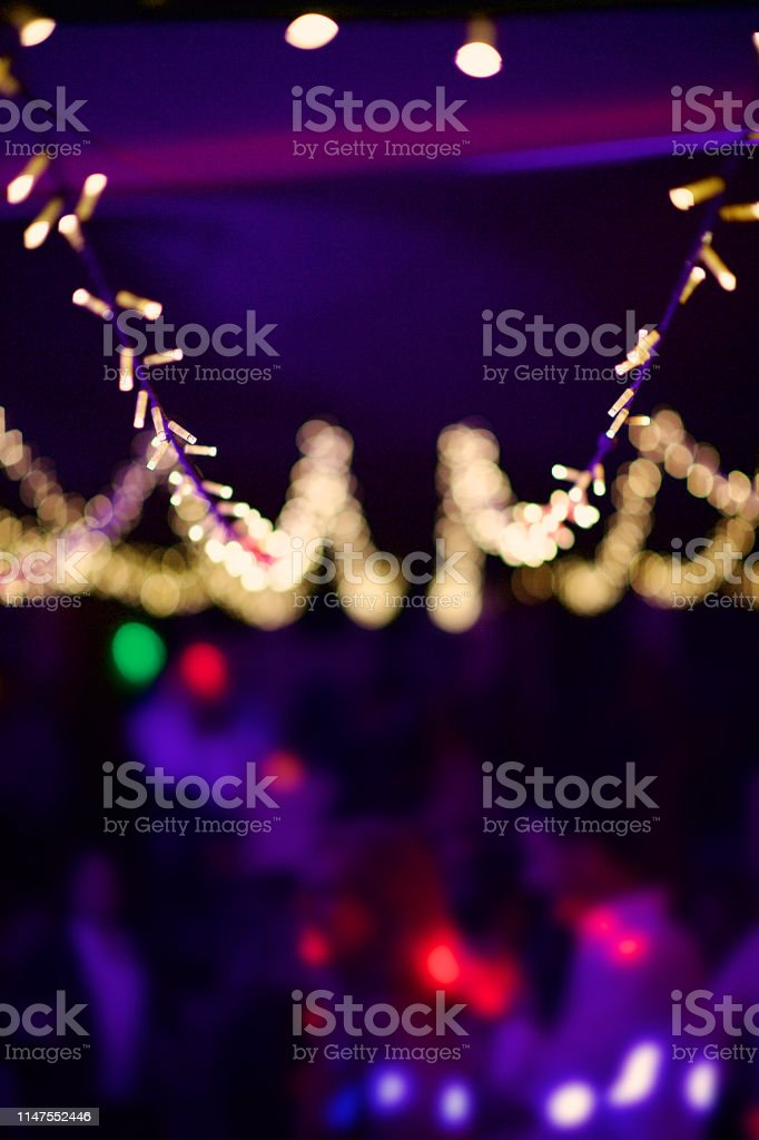 Lines Of String Fairy Lights At An Outdoor Tent Defocussed Stock Photo Download Image Now Istock